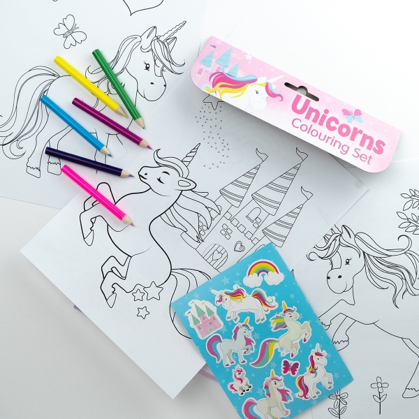 3 Piece Unicorn Colouring Set
