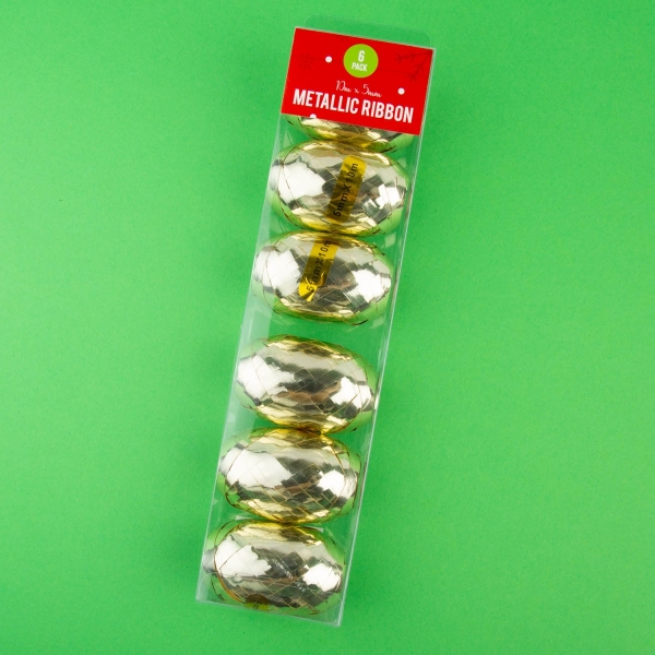 Christmas Metallic Ribbon - 6 Pack
