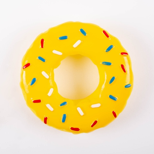 Doughnut Shaped Squeaky Dog Toy - Yellow