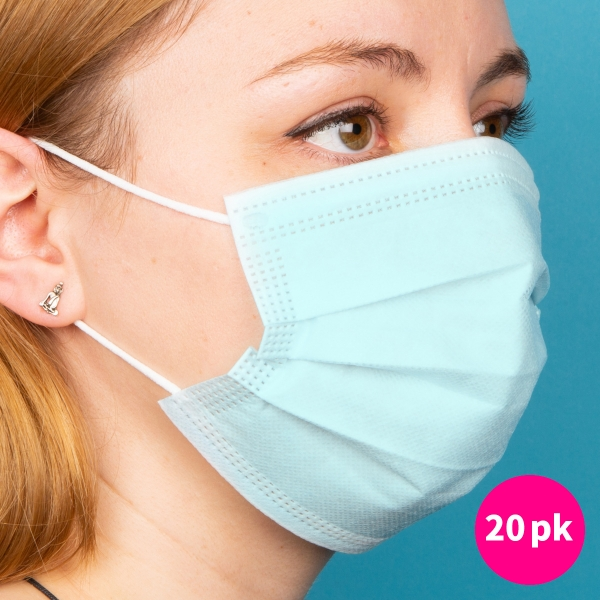 Disposable Protective Face Masks 20pk