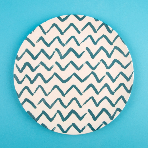 Eco Friendly Bamboo Dinner Plate 23cm - Zigzag