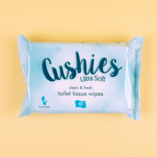 **NEW** Cushies Flushable Toilet Paper Wipes 42pk – Clean & Fresh