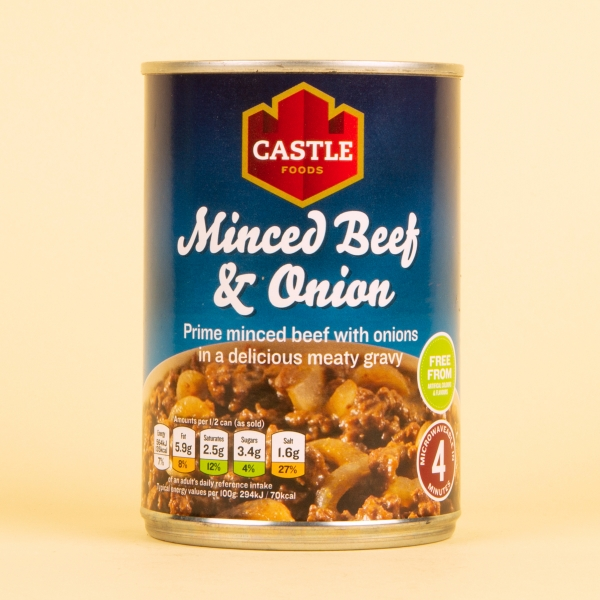 **NEW** Castle Foods Tinned Minced Beef & Onion 385g