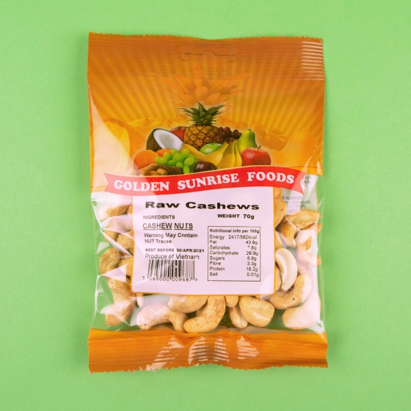 **NEW** Golden Sunrise Raw Cashew Nuts 70g