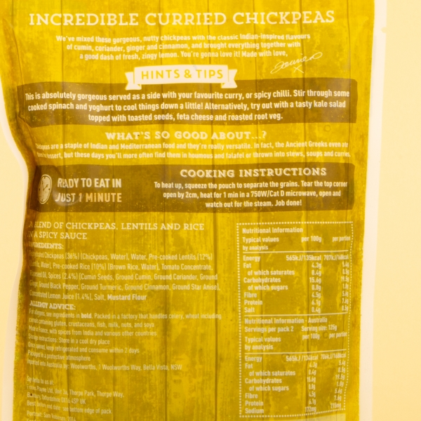 **NEW** Jamie Oliver Microwave Curried Chickpeas 250g