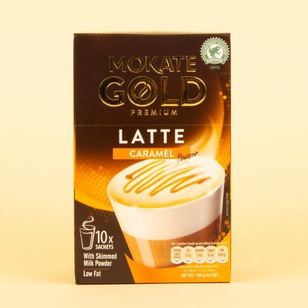 Mokate instant coffee sachets in caramel latte flavour