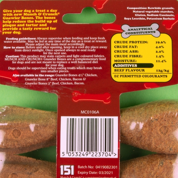 **NEW** Munch & Crunch Gnawler Dog Bone 2pk - Beef