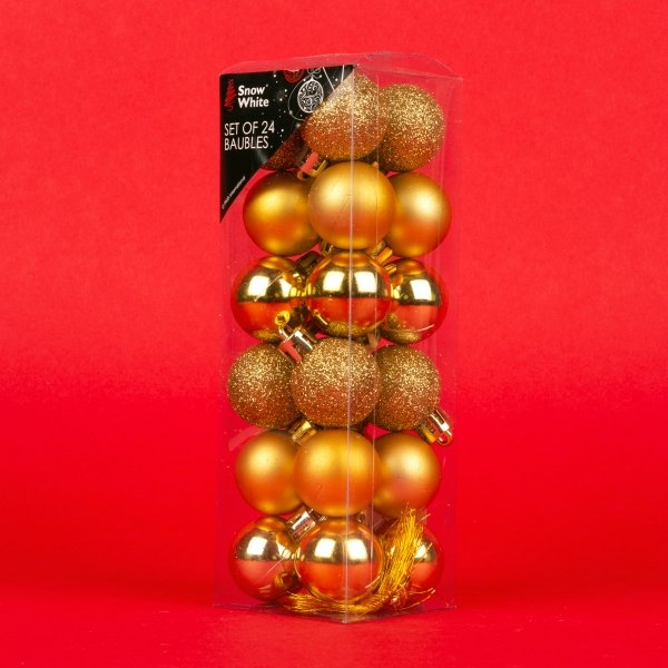 **NEW** Christmas Baubles 24pk - Gold