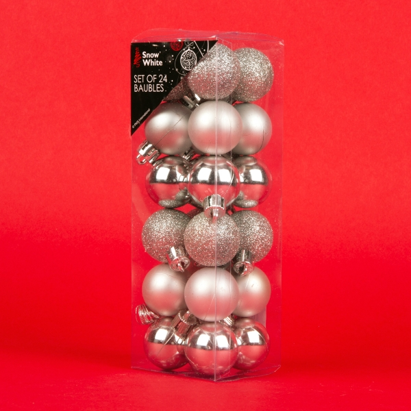 **NEW** Christmas Baubles 24pk - Silver
