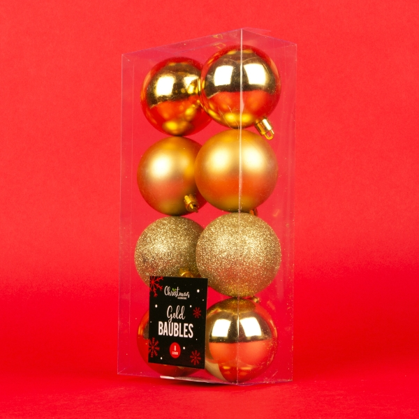 **NEW** Christmas Baubles 8pk - Gold