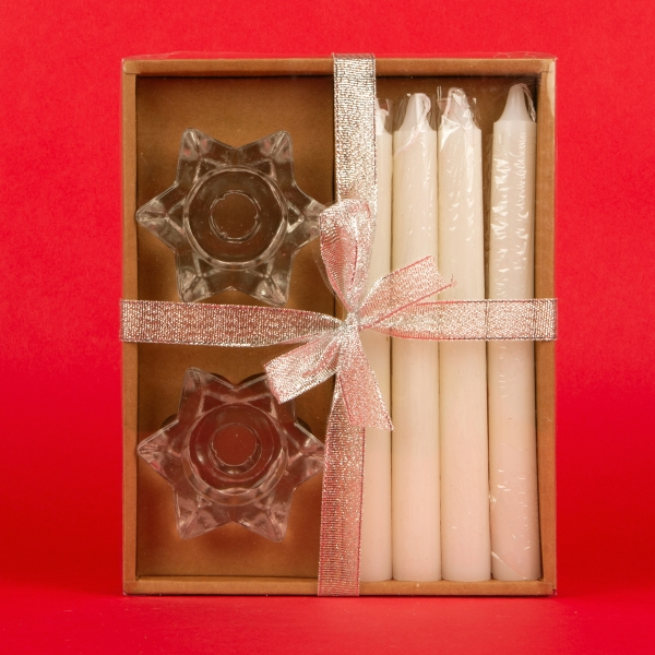 **NEW** Christmas Dinner Candles and Holders Set 6pcs