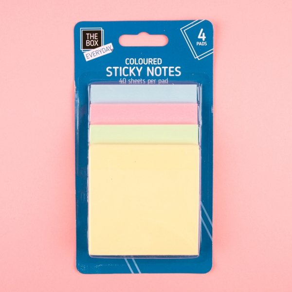 **NEW** Coloured Sticky Note Pads 4pk - Pastel
