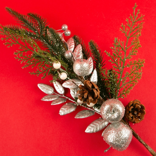 **NEW** Decorative White and Silver Christmas Branch 60cm