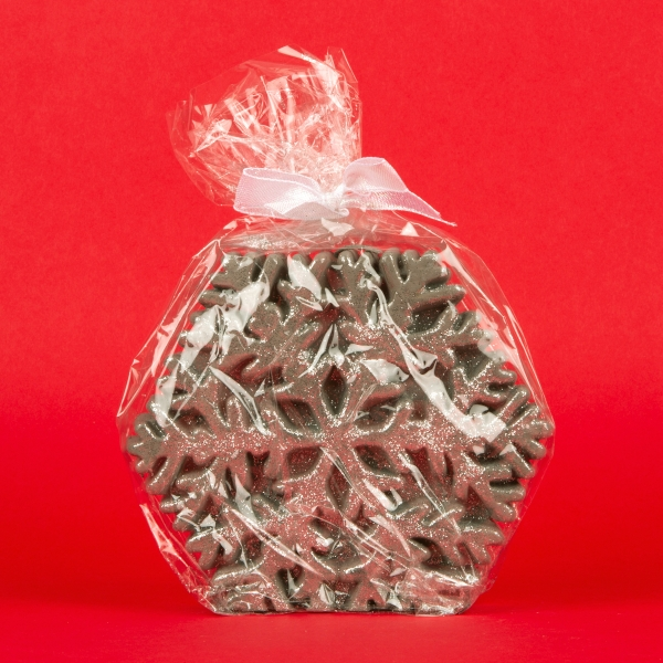 **NEW** Glitter Finish Snowflake Candle - Silver