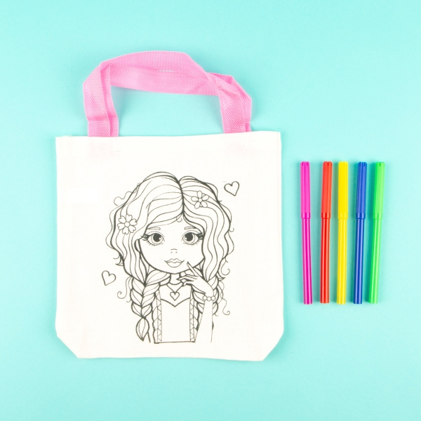 Children's Colour Your Own Tote Bag - Girl