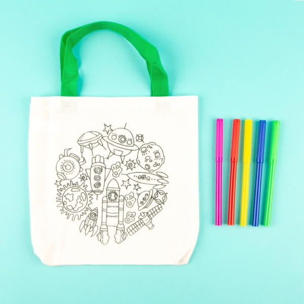 Children's Colour Your Own Tote Bag - Space