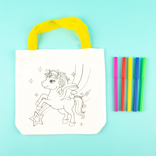 Children's Colour Your Own Tote Bag - Unicorn and Stars