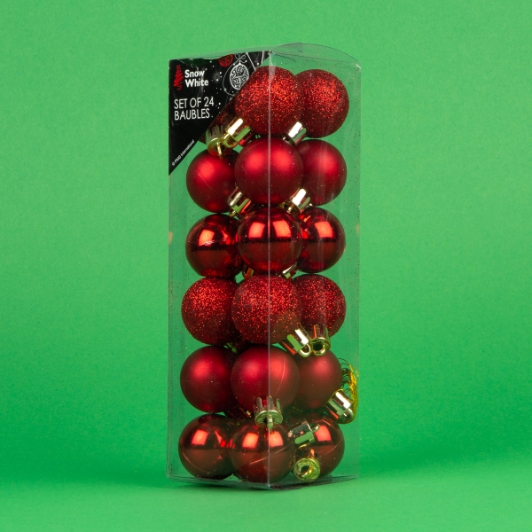 **NEW** Christmas Baubles 24pk - Red