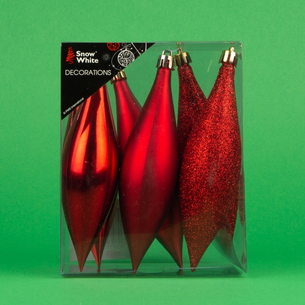 **NEW** Christmas Drop Decorations 6pk - Red