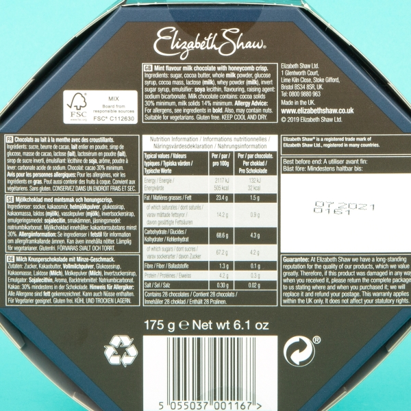 **NEW** Elizabeth Shaw Chocolate Gift Set 175g - Milk Chocolate Mint Crisp