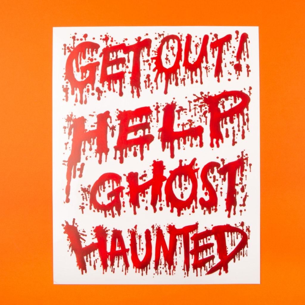 **NEW** Halloween Haunted House Blood Window Stickers - Text