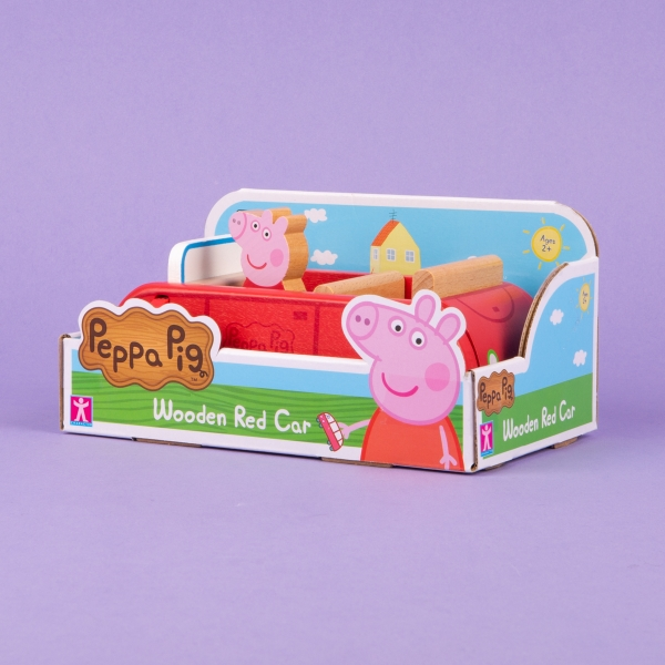 **NEW** Peppa Pig Red Wooden Car Toy