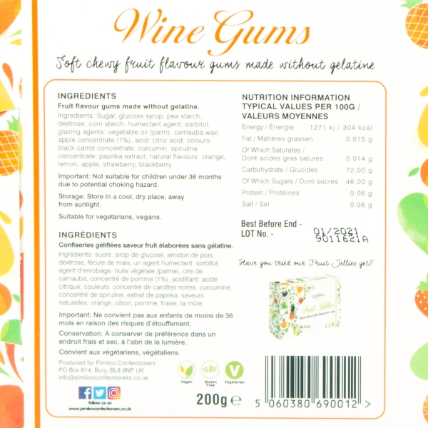 **NEW** Pimlico Confectioners Wine Gums Gift Set 200g