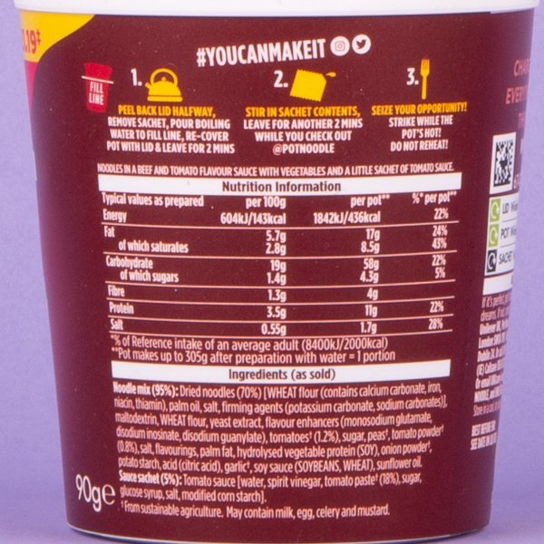 Pot Noodle 90g - Beef and Tomato