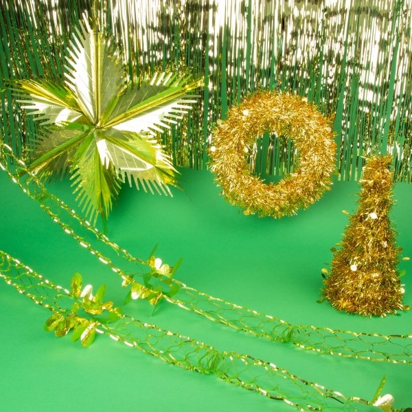 Tinsel Decorations Bundle - Gold