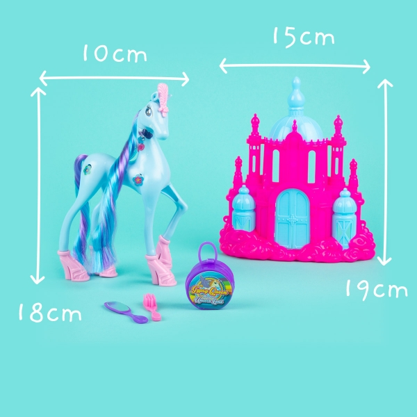 Unicorn Toy with Castle - Blue