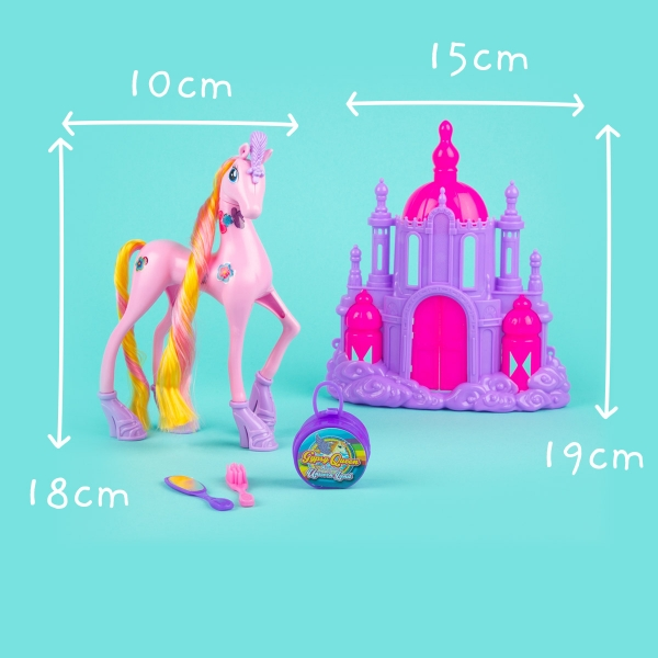 Unicorn Toy with Castle - Pink