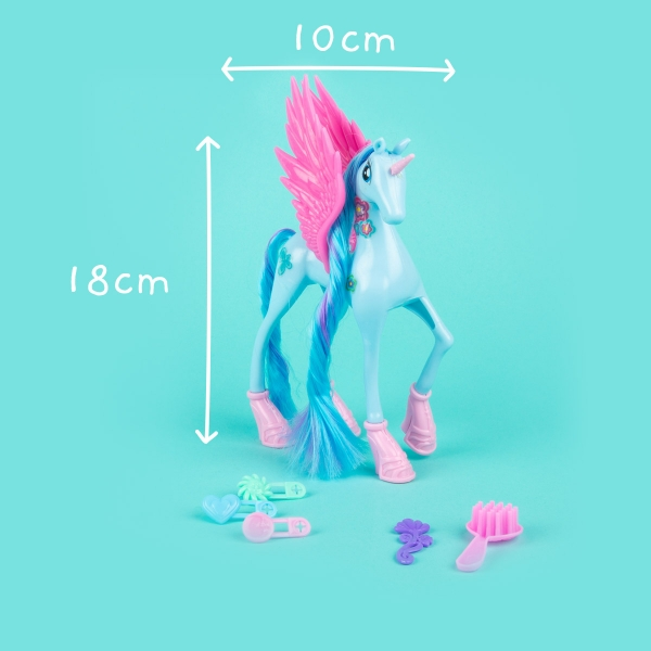 Unicorn Toy with Wings and Accessories - Blue