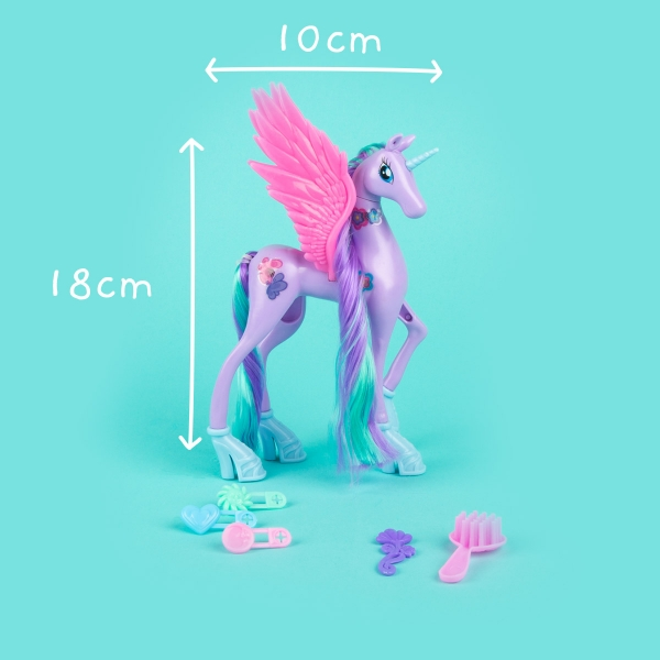 Unicorn Toy with Wings and Accessories - Purple