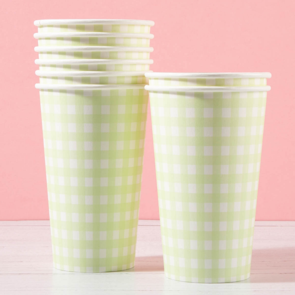 large green gingham paper cups 8 pack