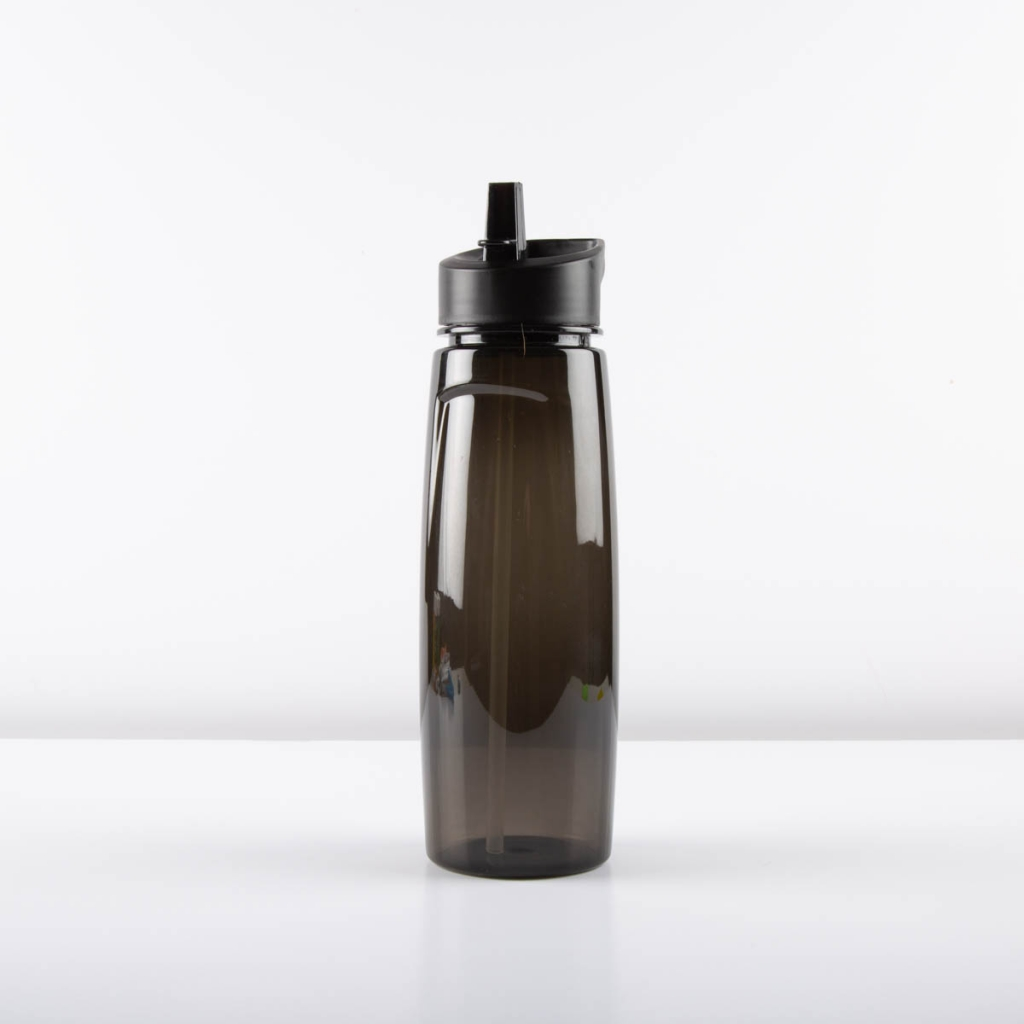 black clear sports water bottle with straw
