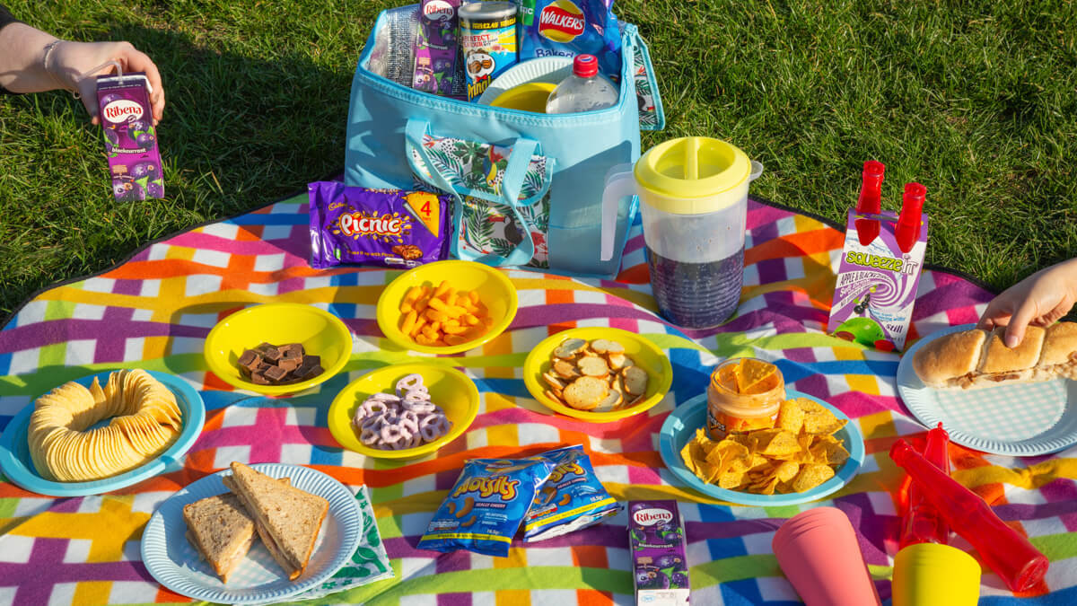 picnic food and drink on picnic blanket