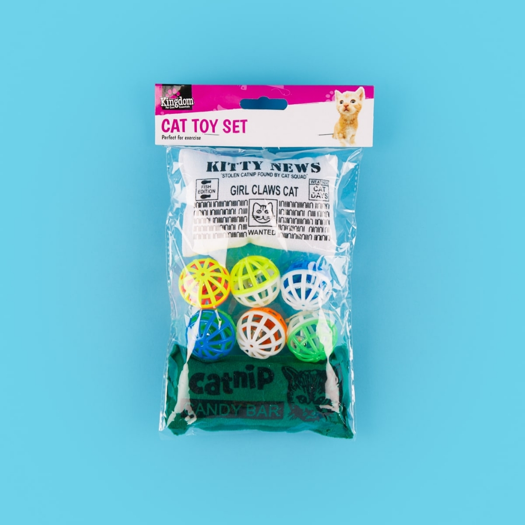 packet of cat toys