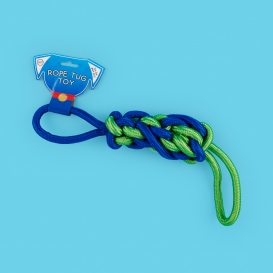 blue and green dog rope tug toy