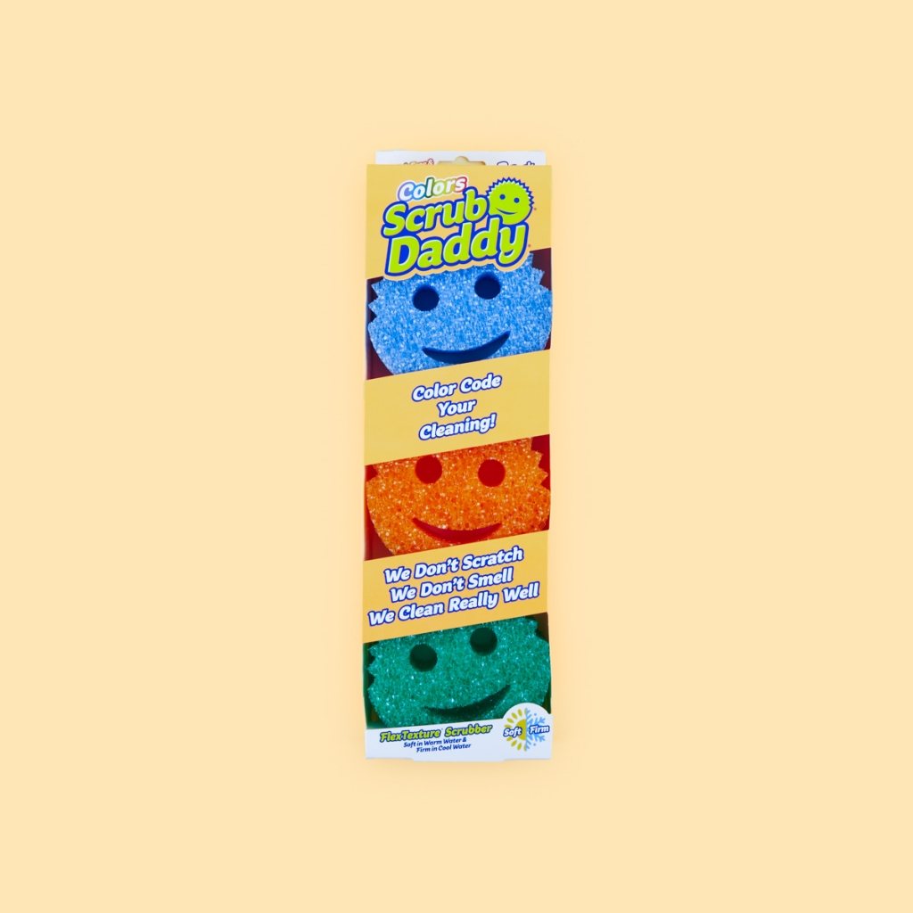 pack of three different colour scrub daddy sponges