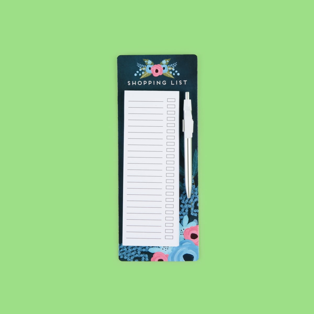 magnetic shopping list with pen