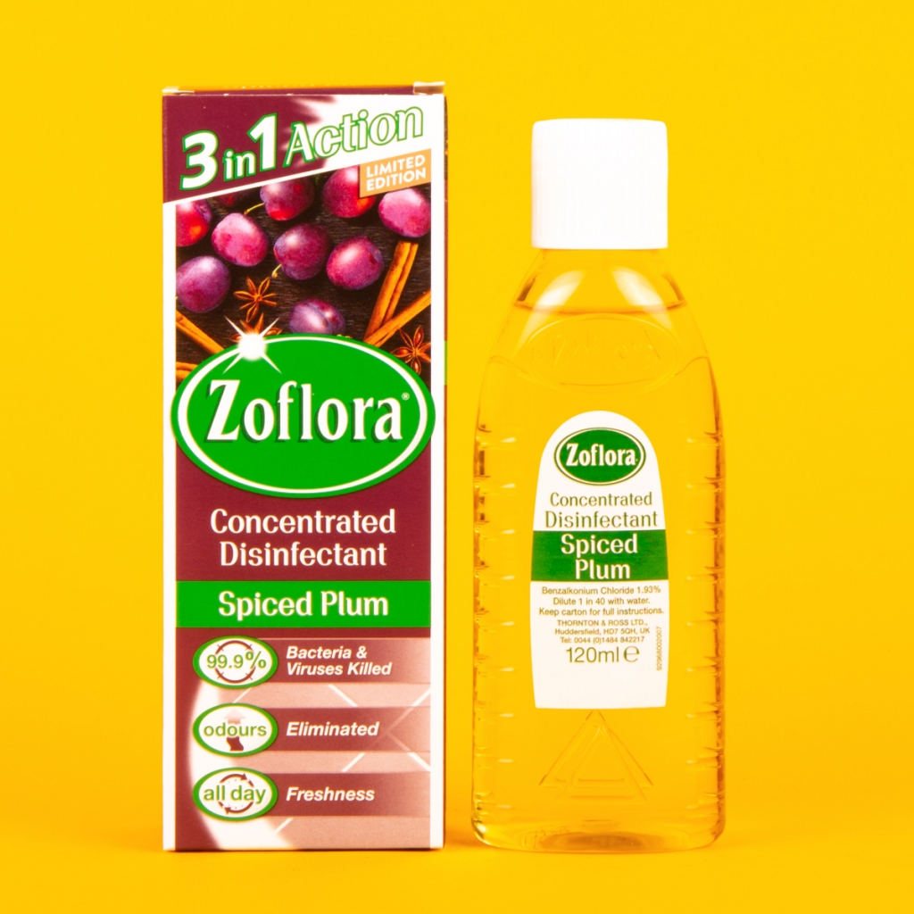 spiced plum zoflora disinfectant bottle and packet