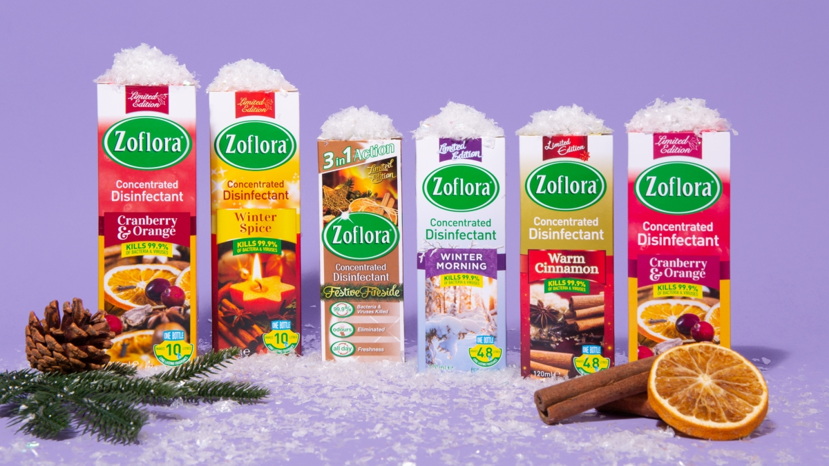 Zoflora disinfectants surrounded by Christmas things