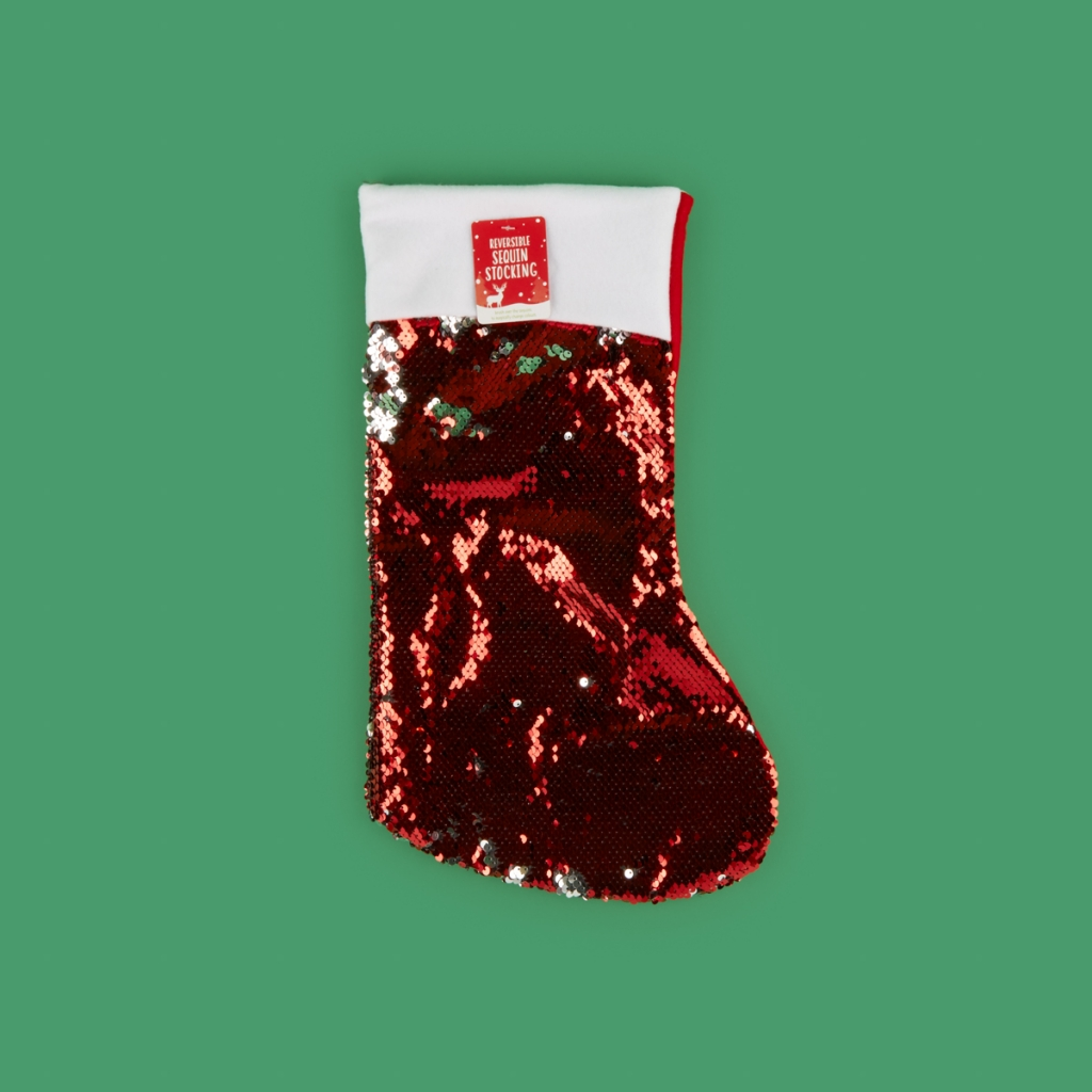 red sequin christmas stocking