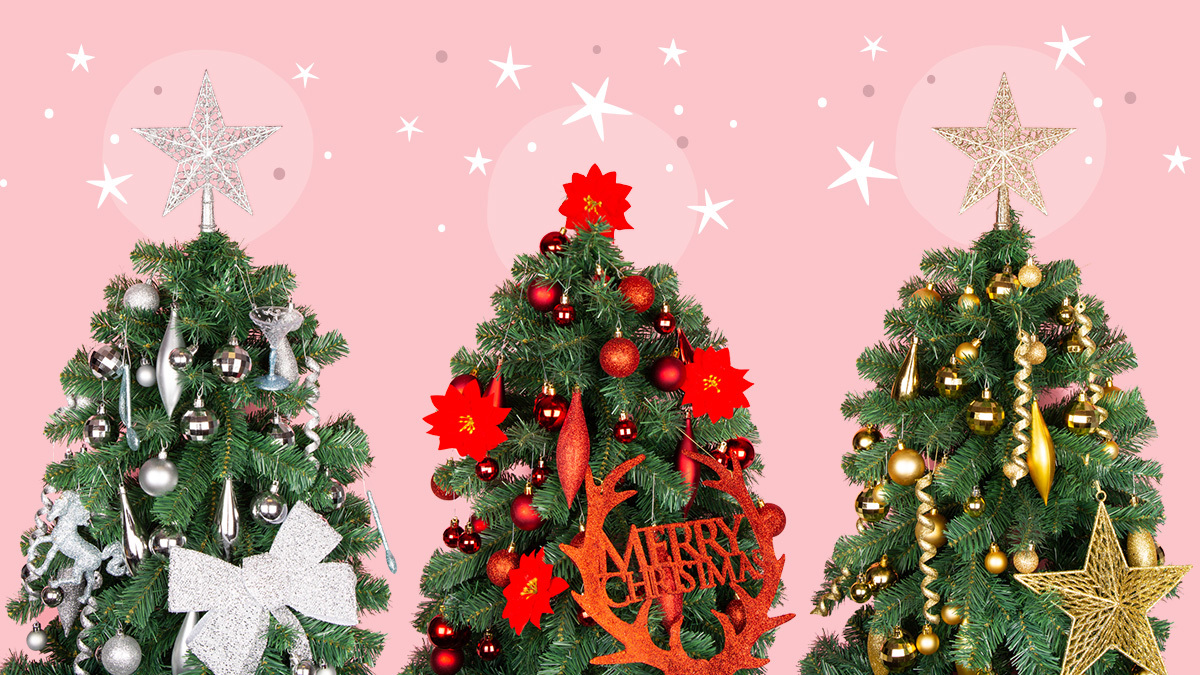 silver red gold christmas trees with decorations